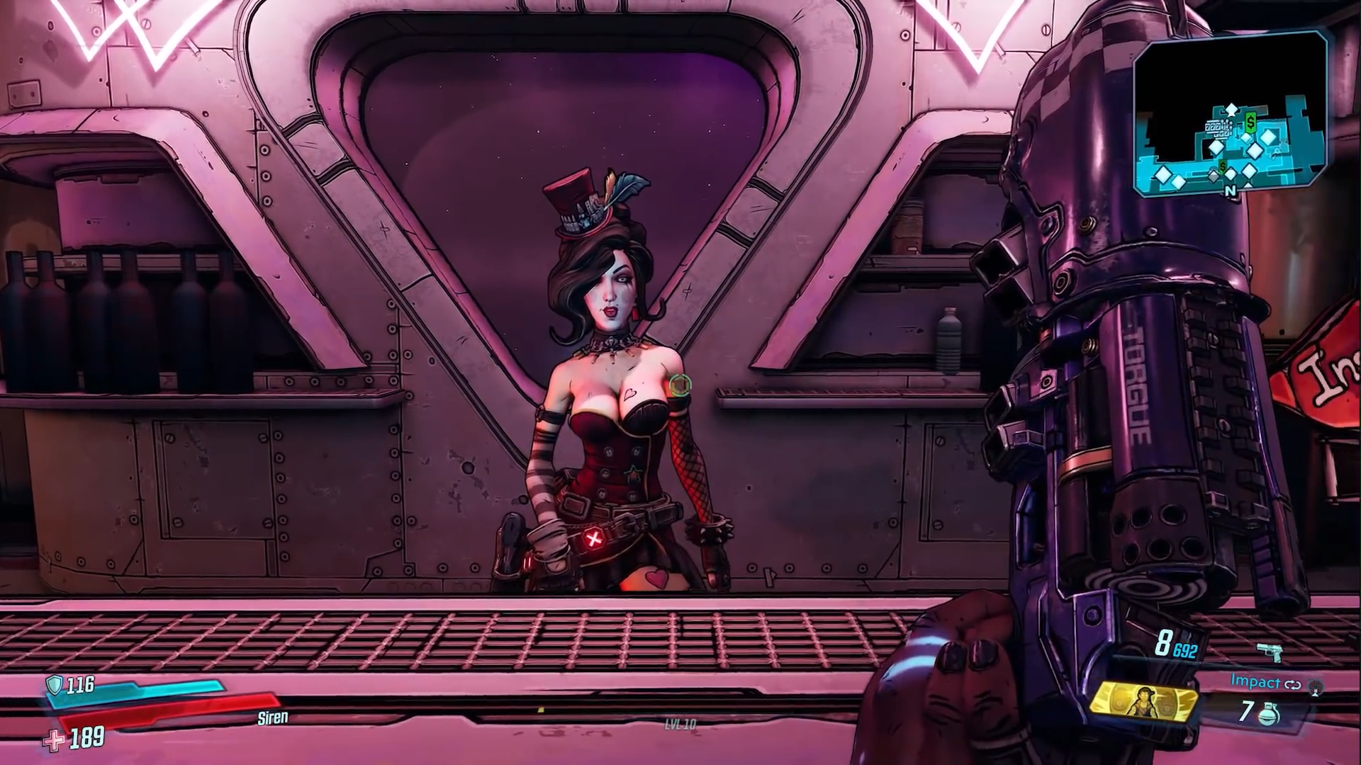Screenchot of Mad Moxxi at her new bar