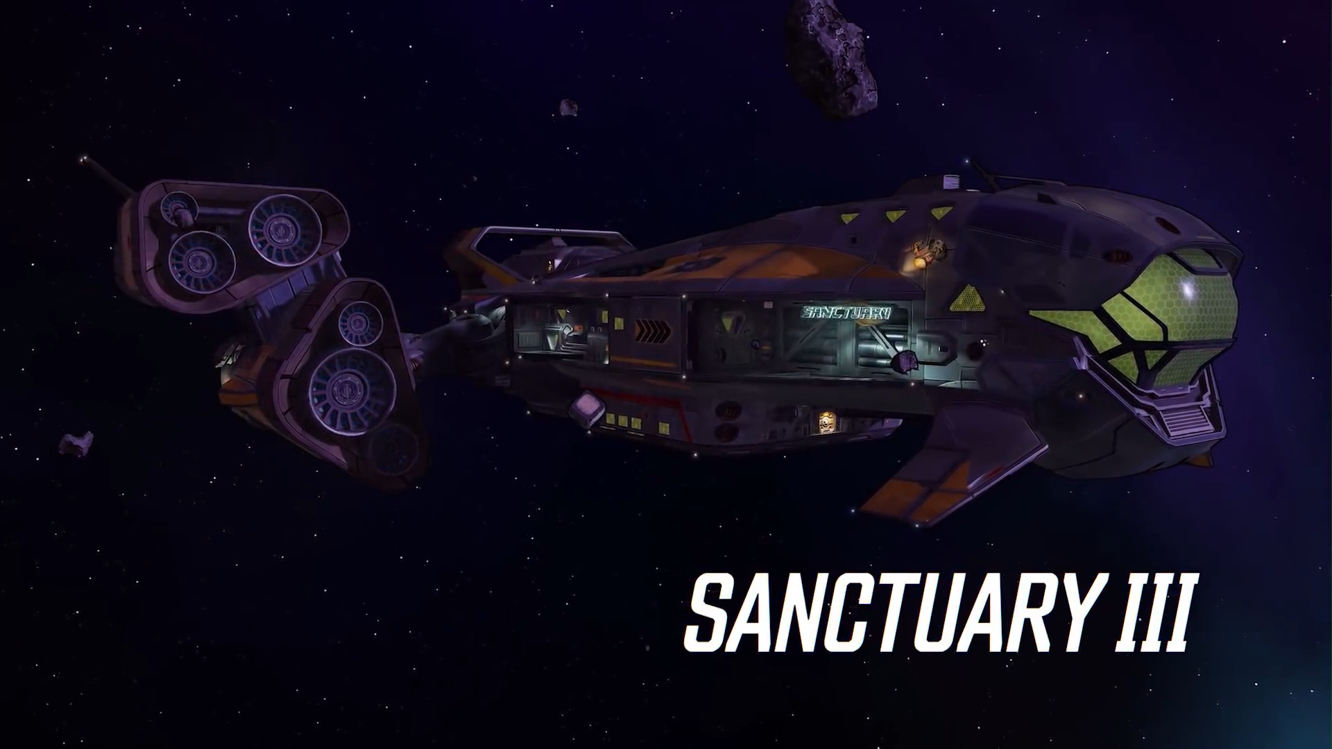 Screenshot of Sancturary 3 the new hub location and spaceship for the vault hunters