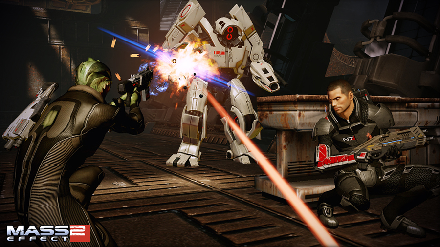 Screenshot from Mass Effect 2, with Thane and Shepard up against a mech.