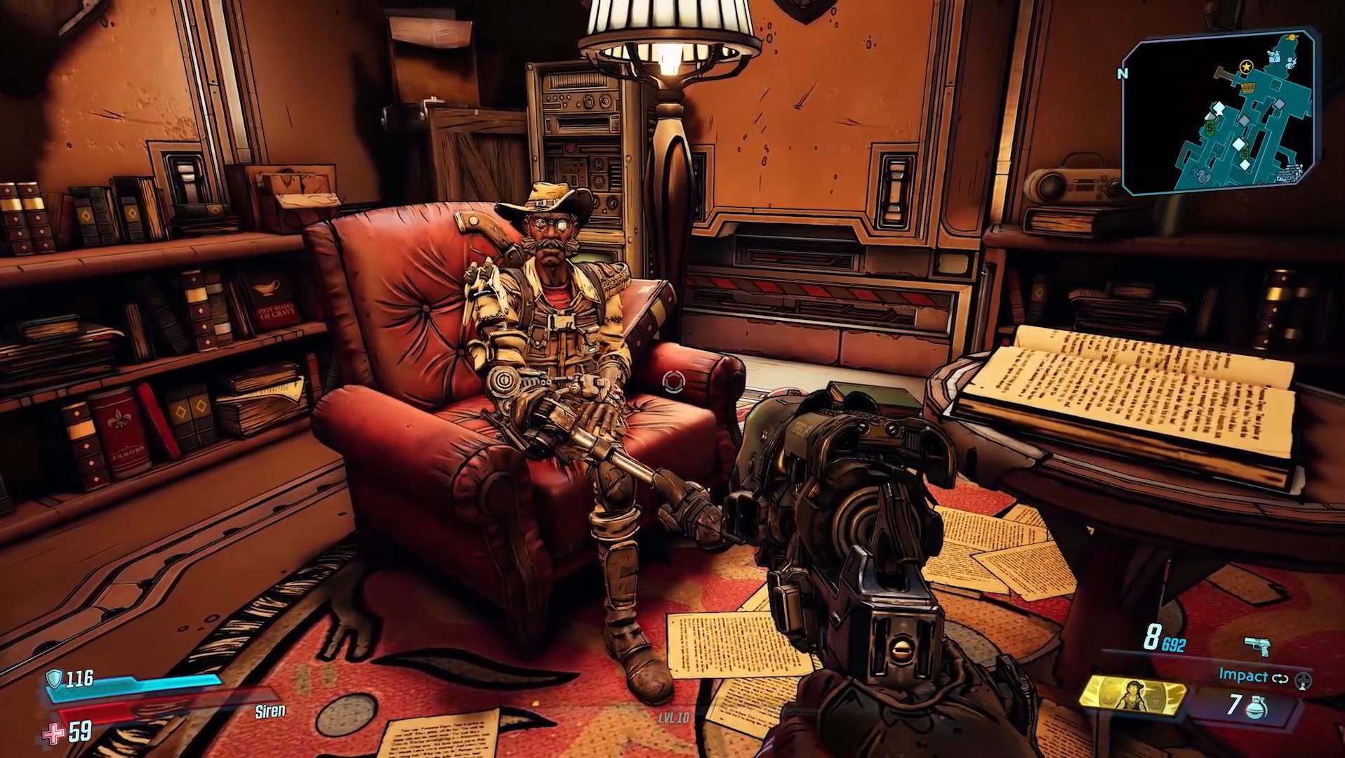 Screenshot of Sir Hammerlock's Trophy room